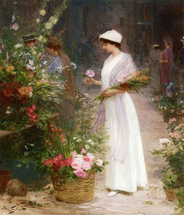 Victor Gabriel Gilbert - Picking flowers