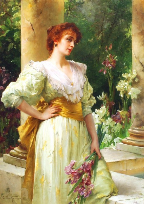 "Conrad Kiesel ""Woman In White Holding Irises"""