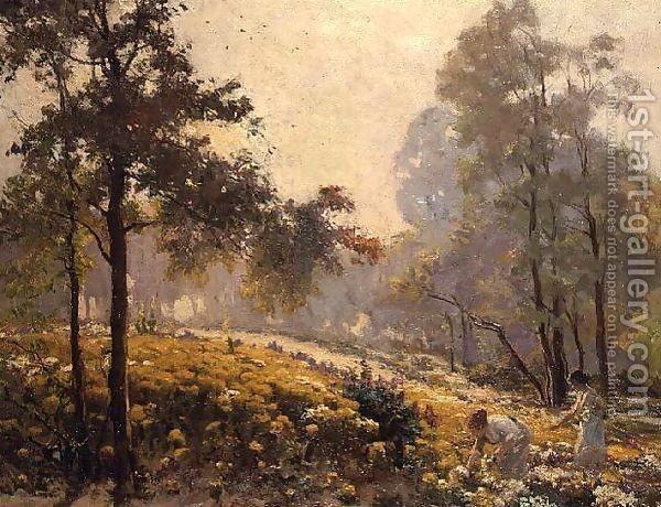 Jeno Karpathy : Women picking yellow flowers in a wooded landscape