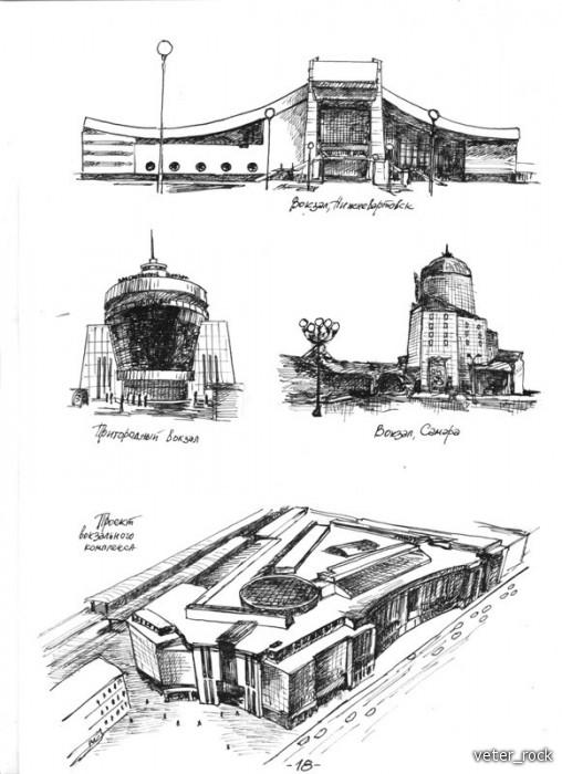 Рисунки пером и тушью Обсуждение на Российский  Графический реферат ЖДвокзалы иллюстрации