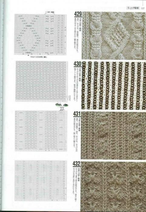 Большая японская книга с узорами по вязанию спицами, с примерами.