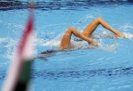 Доротти Ковакз и Ката Штумпф (Dorottya Kovacz and Kata Stumpf) из Венгрии. Выступление пар на чемпионате Европы по синхронному плаванию в Будапеште, 5 августа 2010 года.