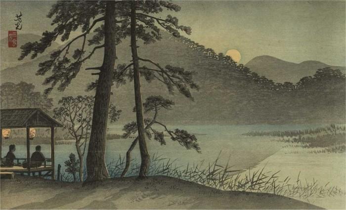 Японские открытки ночь