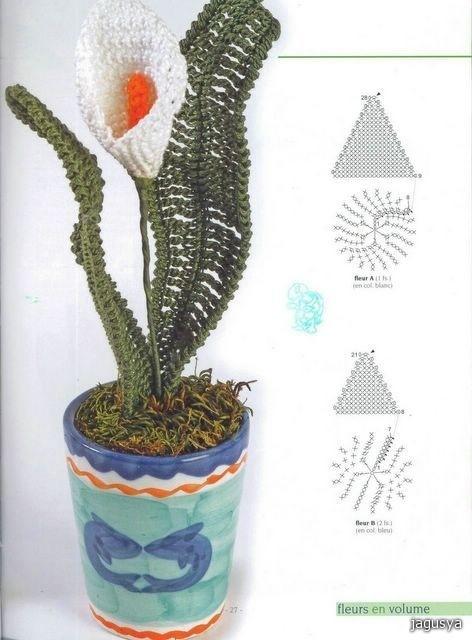 цветы связанные крючком со схемами.