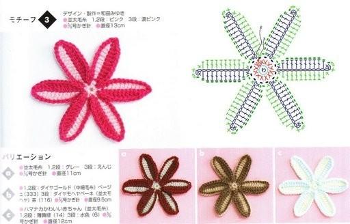 Как связать разнообразные цветы крючком по примеру изображенных на.