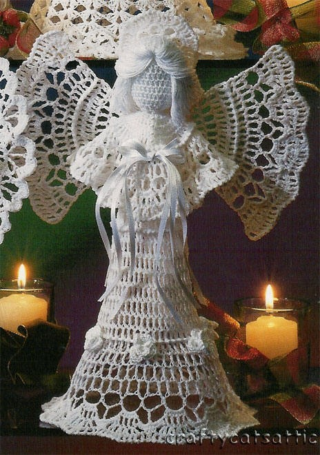 Ангел из бисера схема ... .  Высота елочки 26 см. Схема вязания вязанной...