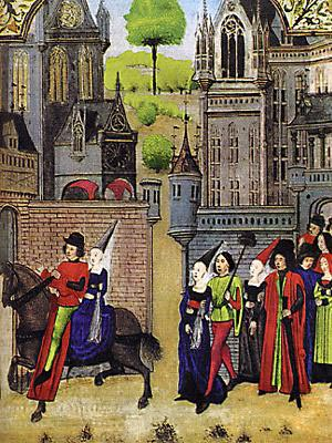 К началу XV века нарядное платье невесты обретает новую форму.
