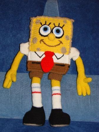 Игрушка Вязание крючком: Спанч Боб Пряжа Отдых.  Фото 3.