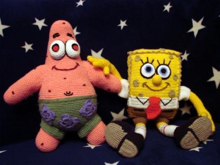 Игрушка Вязание крючком: Патрик - лучший друг Спанч Боба.  Пряжа.