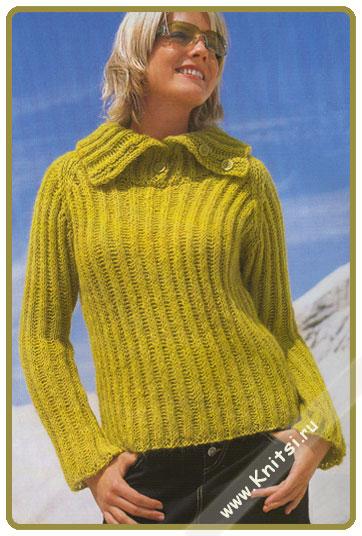 вязание спицами желто-зеленый пуловер.