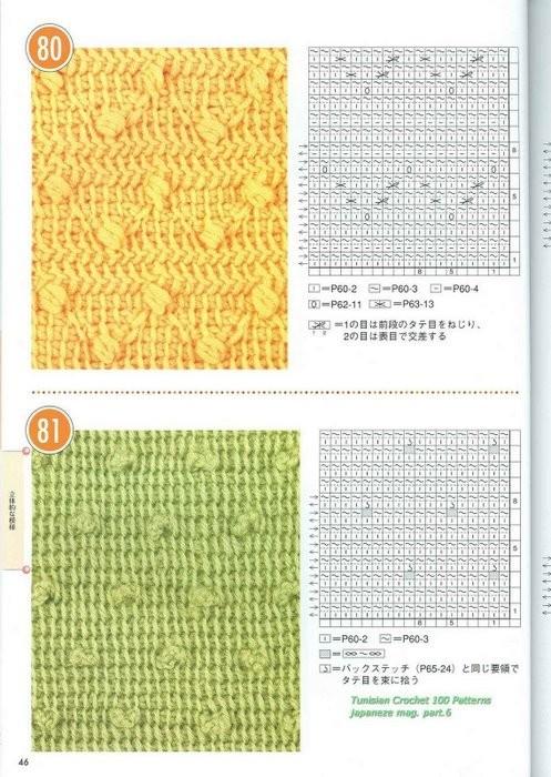 Узоры и схемы тунисского вязания - Тунисский (длиный) крючок - Основы.