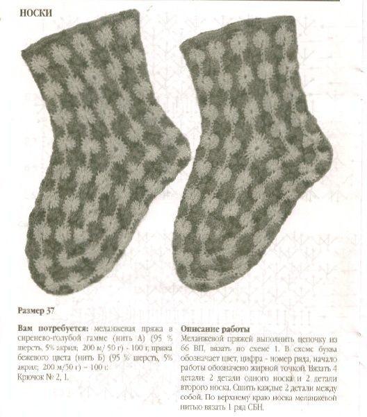 Вяжем носки крючком(красиво)
