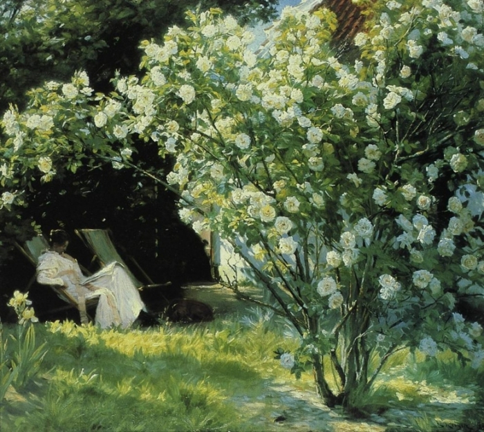 Roses - Gardenpart from Skagen with the Artist's Wife Date unknown by Peder Severin Kroyer