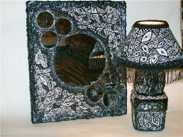 Зеркало и светильник расписаны акрилом, декорированы кожей, бисером.