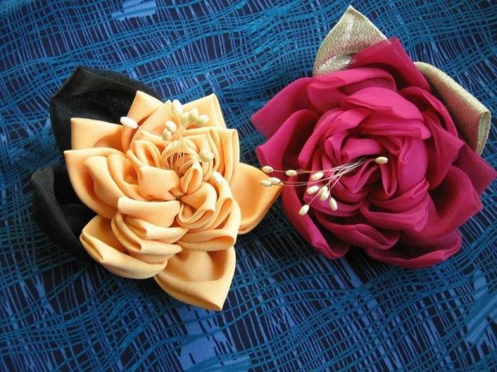 ПРОДОЛЖЕНИЕ.  Роза из ткани2 МК.