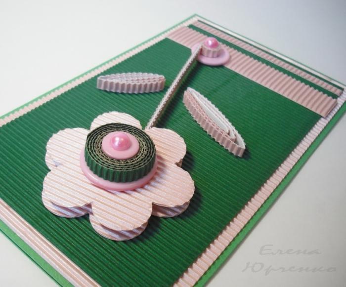Фото надписью, поздравительная открытка из гофрированного картона