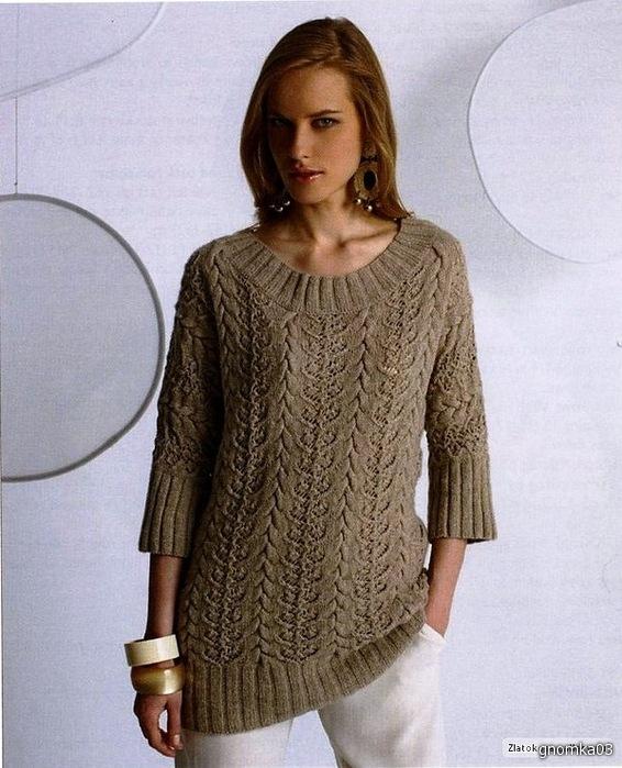 Женский пуловер с красивыми косами
