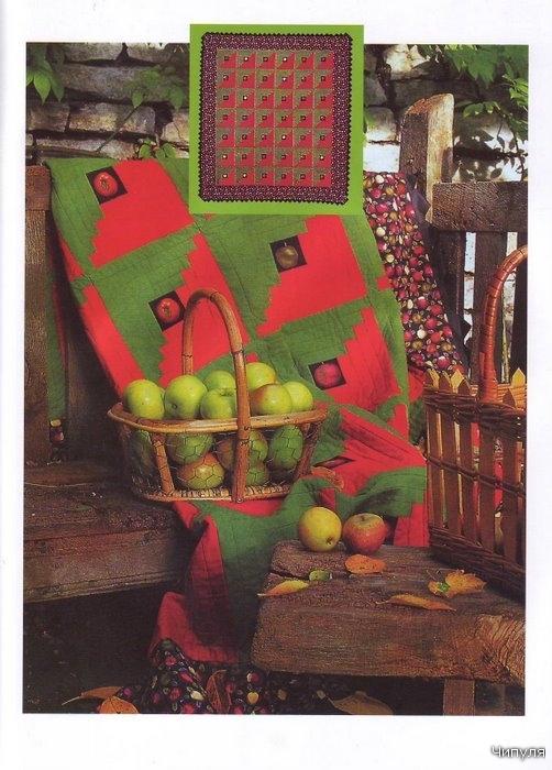 """Стеганое одеяло  """"Зеленые яблоки """" своими руками."""
