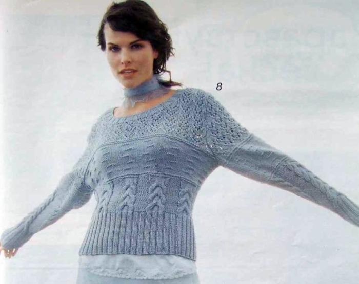 Теги. ссылка. ажурная вязка.  Пуловер с ажурной кокеткой.