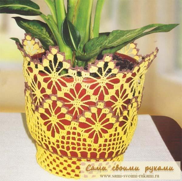Узоры и схемы для вязанием крючком вазы с цветами, шапка fbi и вязать...
